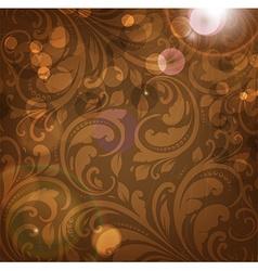 Brown floral patterned background vector
