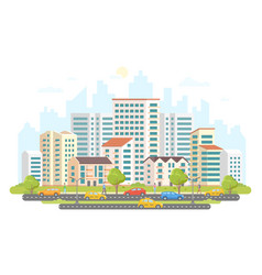 Busy street life - modern colorful flat vector