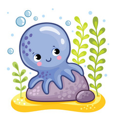 cute octopus sits on a rock vector image vector image