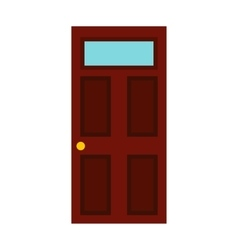 Dark brown wooden door icon flat style vector