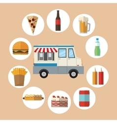 Delicius food truck icon delivery concept vector