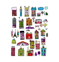 European city icons sketch for your design vector image