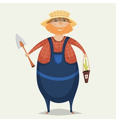 Farmer with shovel and plant vector