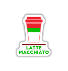 flat icon design collection latte macchiato vector image