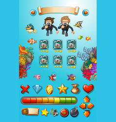 Game template with divers and sea animals vector