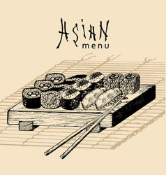 Hand drawn asian menu hand vector
