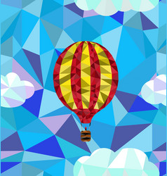 Hot air balloon polygon pattern vector