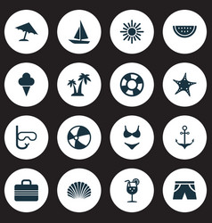 Hot icons set collection of conch tube vitamin vector