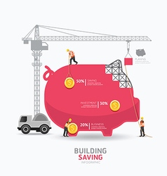 Infographic business piggy bank shape template vector