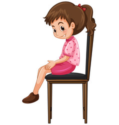 Little girl sitting on big chair vector