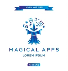 Logo magician manages gadgets electronic vector