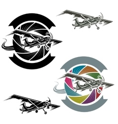 logo with airplane vector image vector image