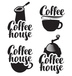 logos for coffee house with a cup and grinder vector image vector image