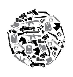 Mafia criminal black symbols and icons in circle vector