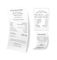 Printed cash receipts set isolated on white vector