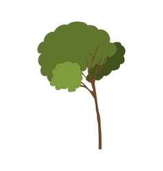 Silhouette tree with leafy branches model one vector