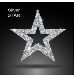 Silver star banner glitter template vector