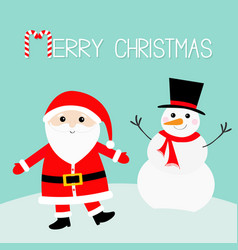 Snowman santa claus wearing red hat costume big vector