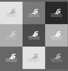 swimming water sport sign grayscale vector image