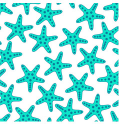 turquoise starfish seamless pattern vector image