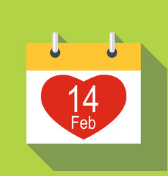 Valentines day calendar icon flat style vector