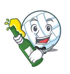 With beer volley ball character cartoon vector