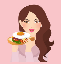 Woman holding fresh sandwich in her hand with egg vector