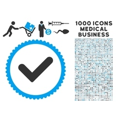 Yes icon with 1000 medical business pictograms vector