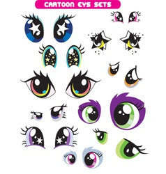 Cartoon eye set vector