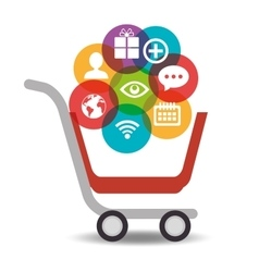 media social cart shop icons vector image
