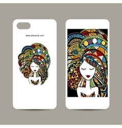 Mobile phone cover design zenart female portrait vector
