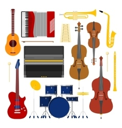 Music instruments set icons collection with drum vector