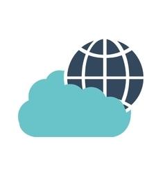 Cloud technology global connection data vector