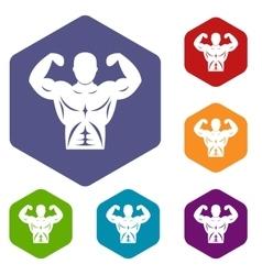 Athletic man torso icons set vector