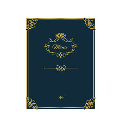 vintage golden menu template on blue vector image