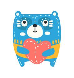 Cute cartoon blue teddy bear with red heart vector