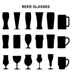 Set of silhouettes of beer glasses vector
