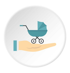 Baby pram protection icon circle vector