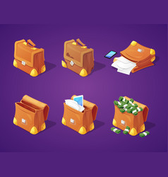 Suitcases with money for game interface vector