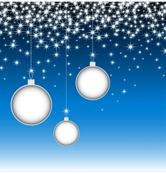 Christmas balls on blue card with snowflakes vector