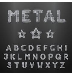 Metallic alphabet set of stainless 3d letters vector