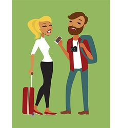Young couple travelling vector