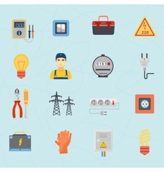 Electrician tools instruments flat icons set vector