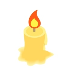 Burning candle isometric 3d icon vector