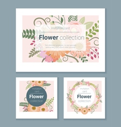 Set of invitation cards with colorful flowers 2 vector