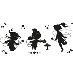 Three silhouettes of fairies vector