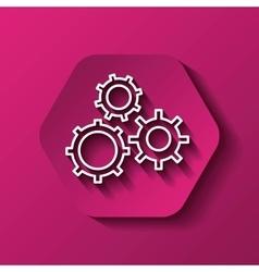 Gear icon machine part design over hexagon vector