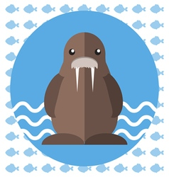 Abstract with a brown walrus on blue water vector image