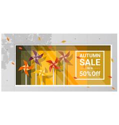 Autumn sale window display vector