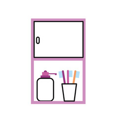 Bathroom cabinet with bottle soap and toothbrush vector